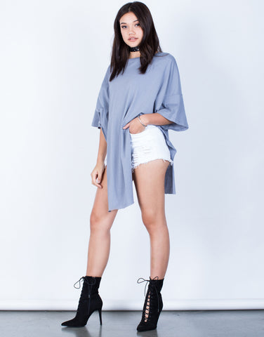 Side View of Oversized Side Slit Tunic