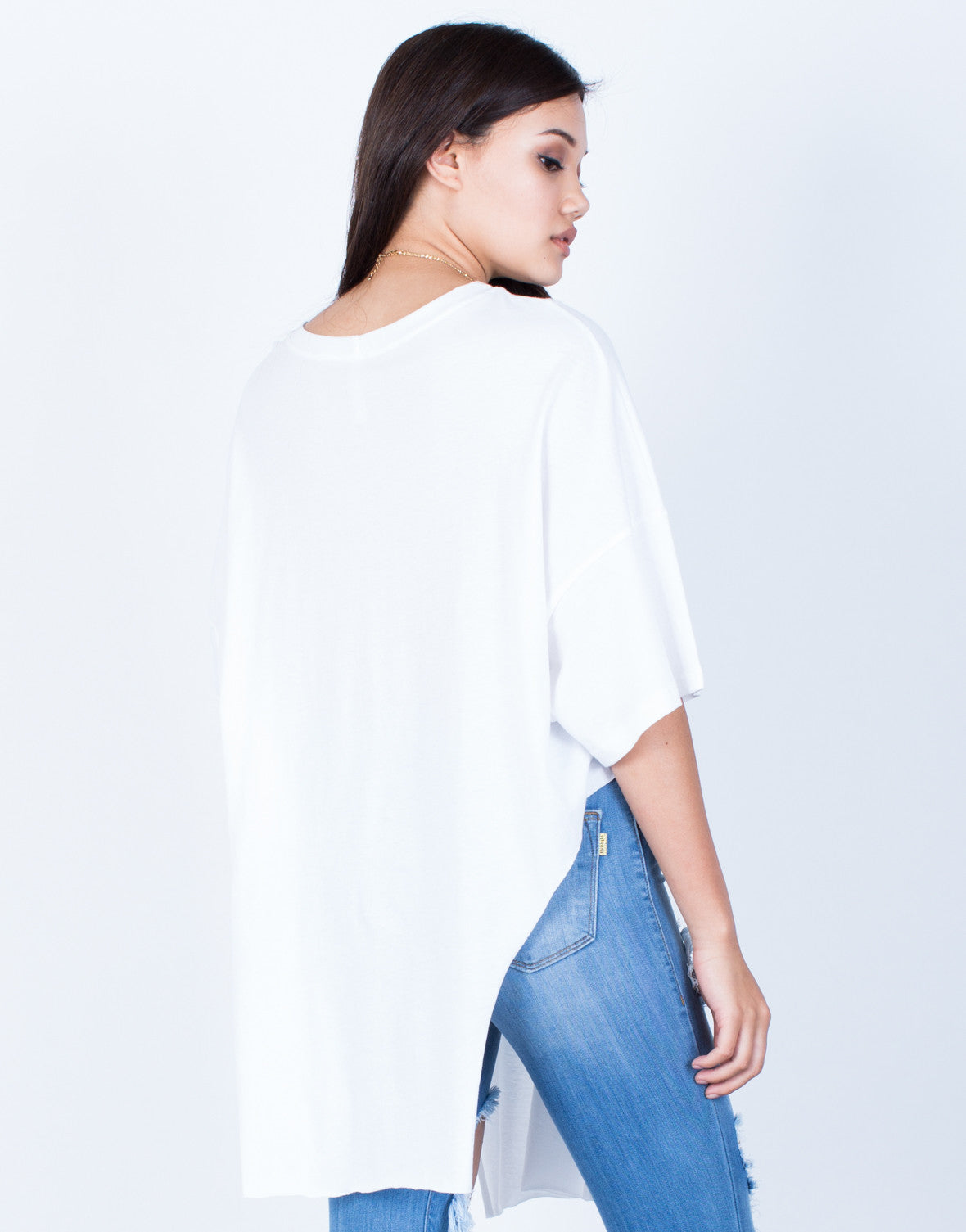 Back View of Oversized Side Slit Tunic