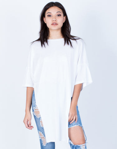 Front View of Oversized Side Slit Tunic