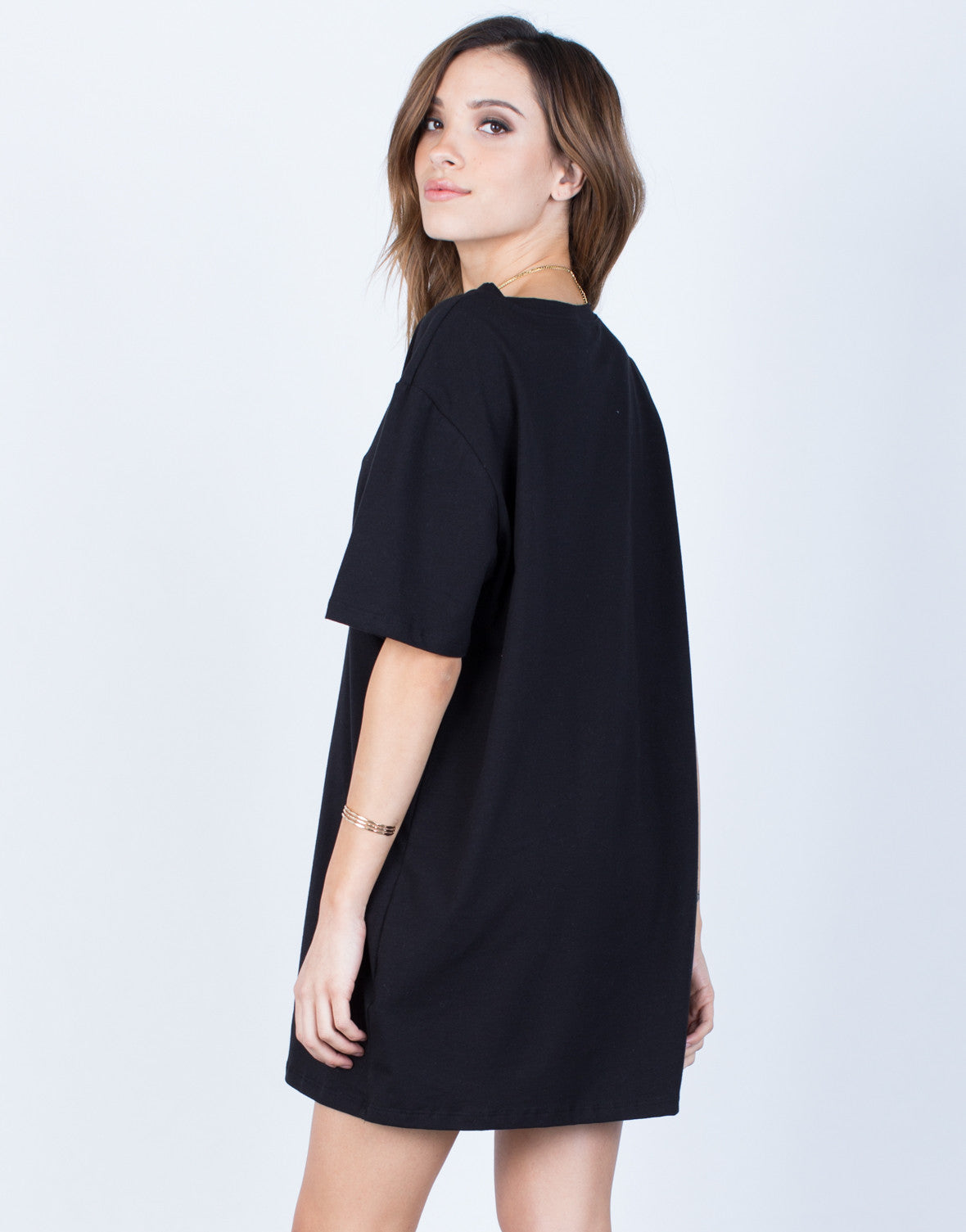 Back View of Oversized Tee Dress