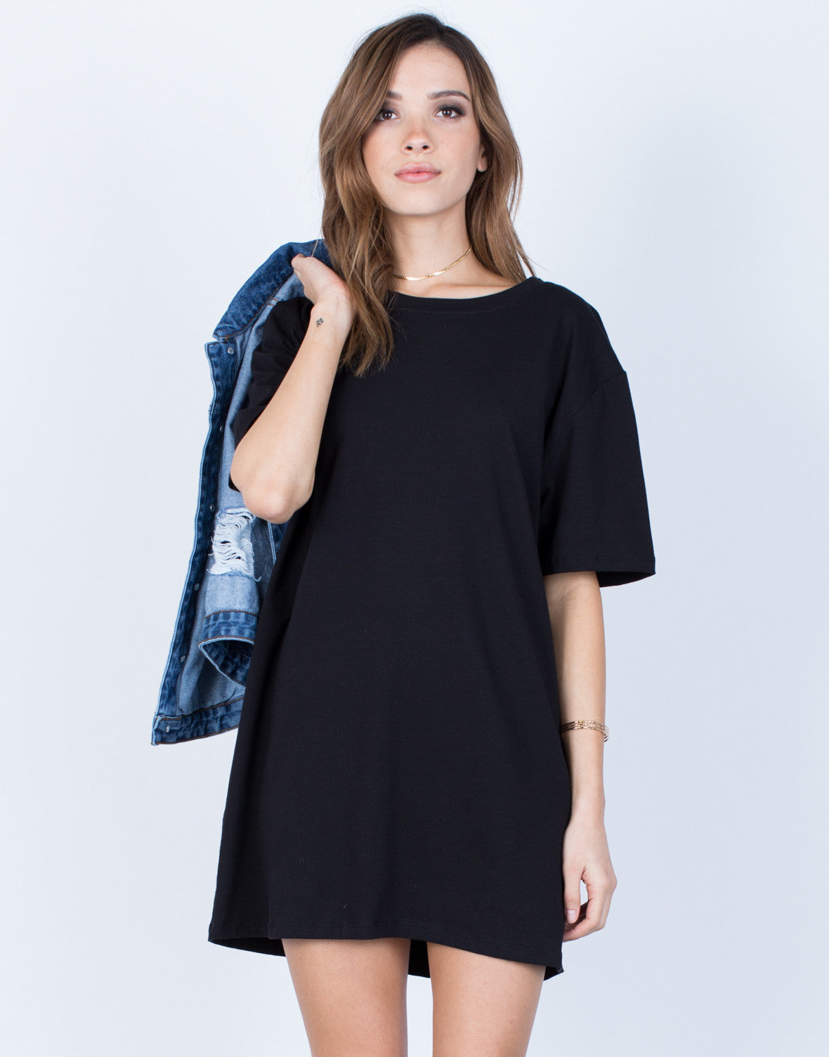 Front View of Oversized Tee Dress