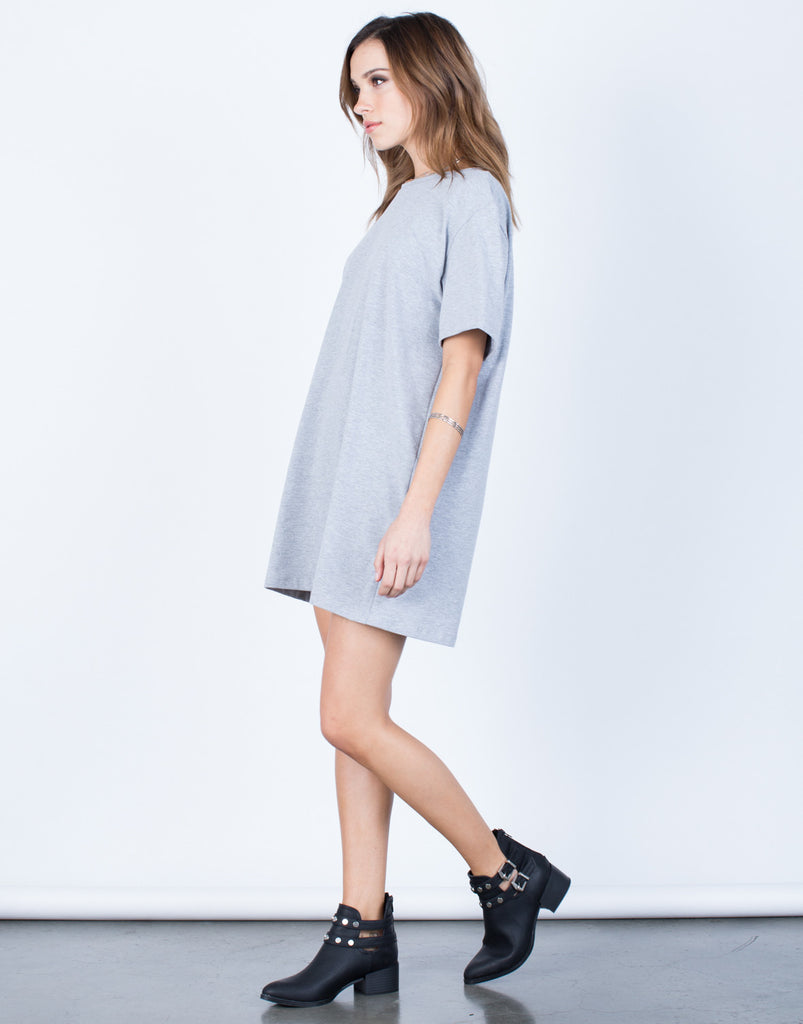 Side View of Oversized Tee Dress