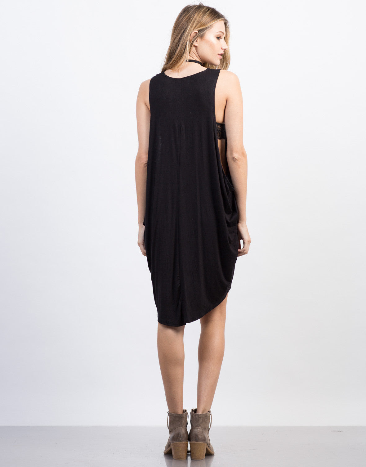 Back View of Oversized Tunic Tank Dress