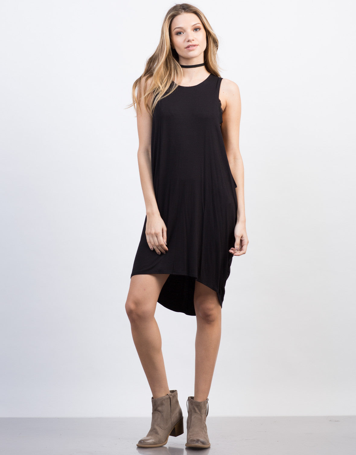Front View of Oversized Tunic Tank Dress