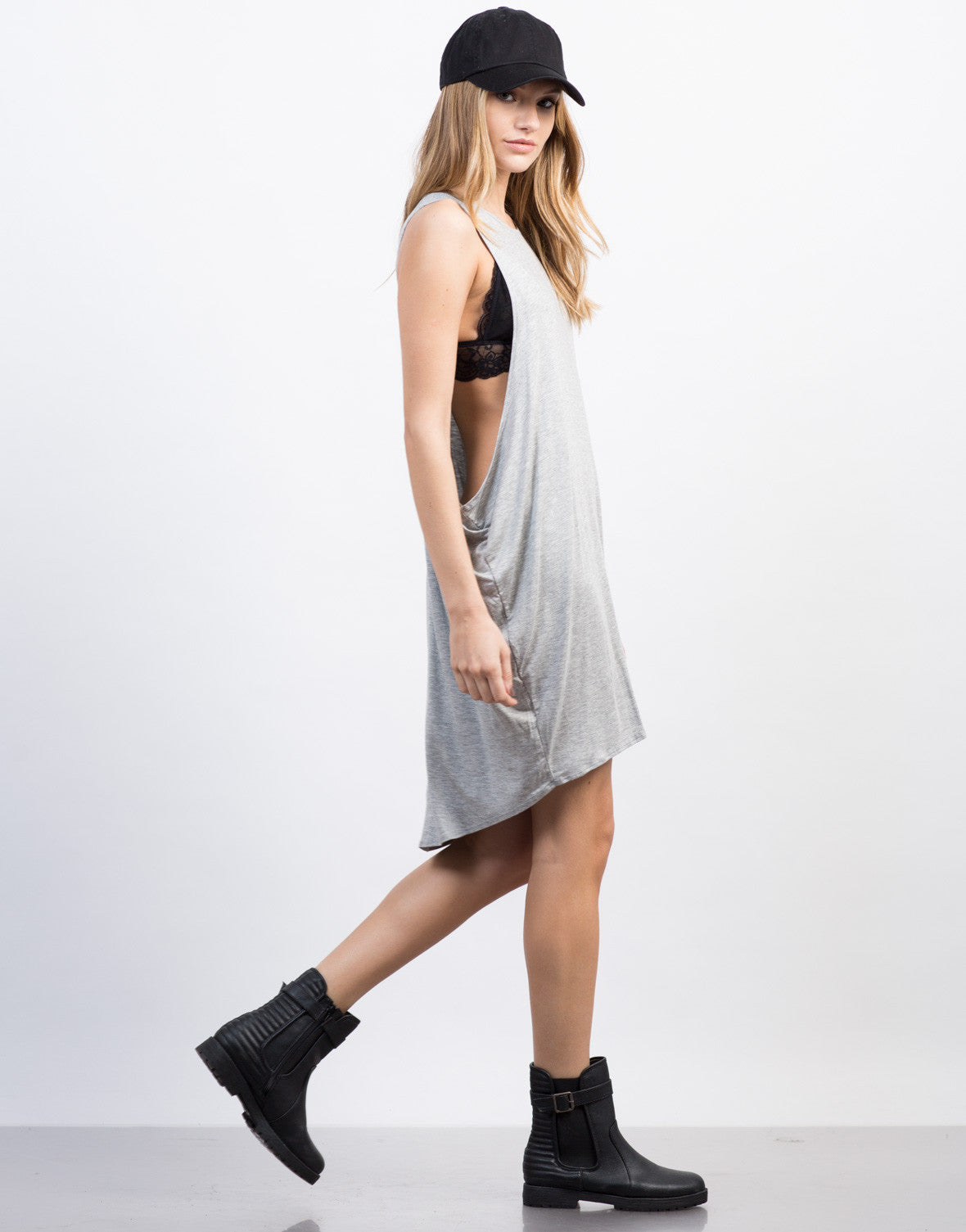 Side View of Oversized Tunic Tank Dress