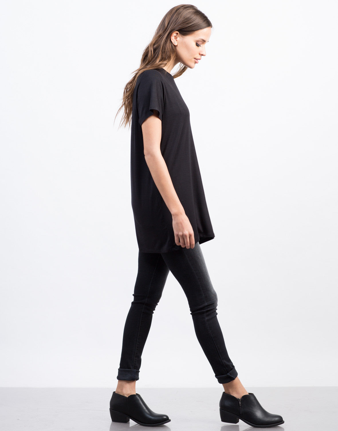 Side View of Ovesized Tunic Tee