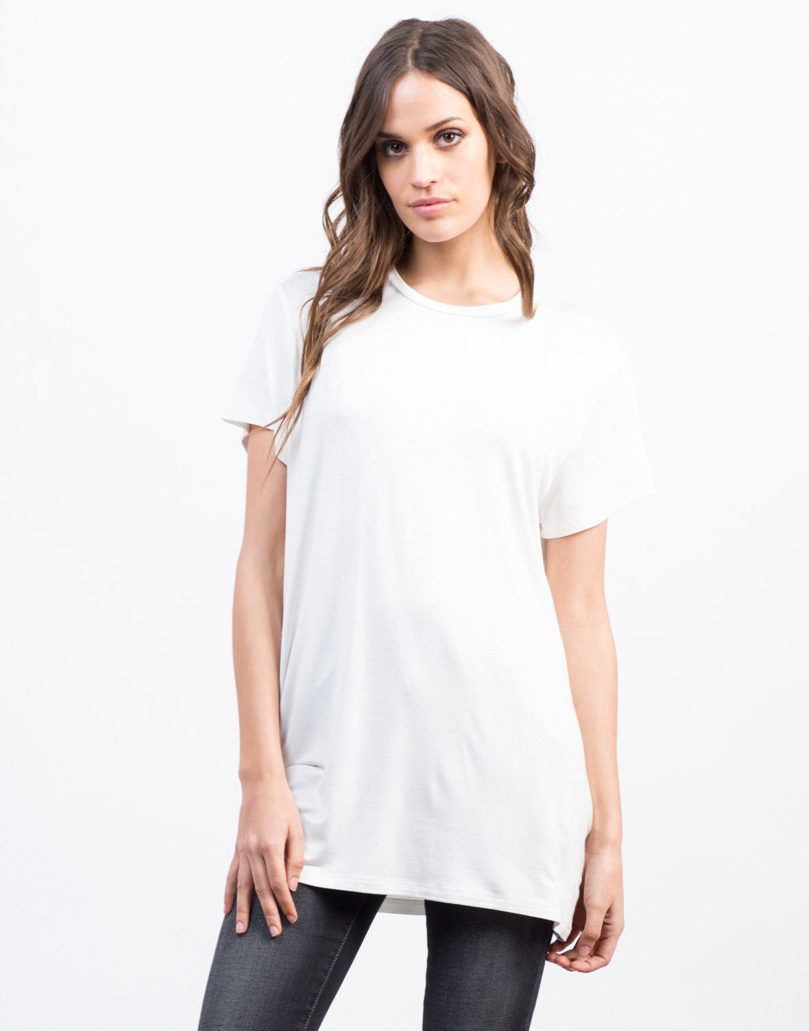 Front View of Ovesized Tunic Tee