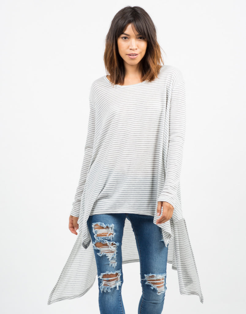 Oversized Asymmetrical Striped Top - 2020AVE