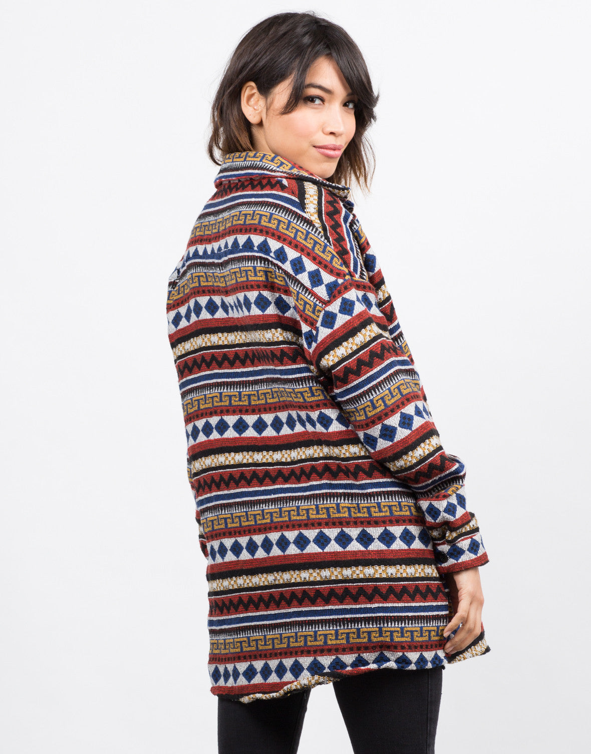 Back View of Oversized Aztec Printed Jacket