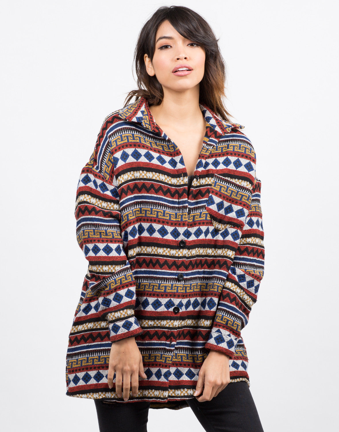 Front View of Oversized Aztec Printed Jacket