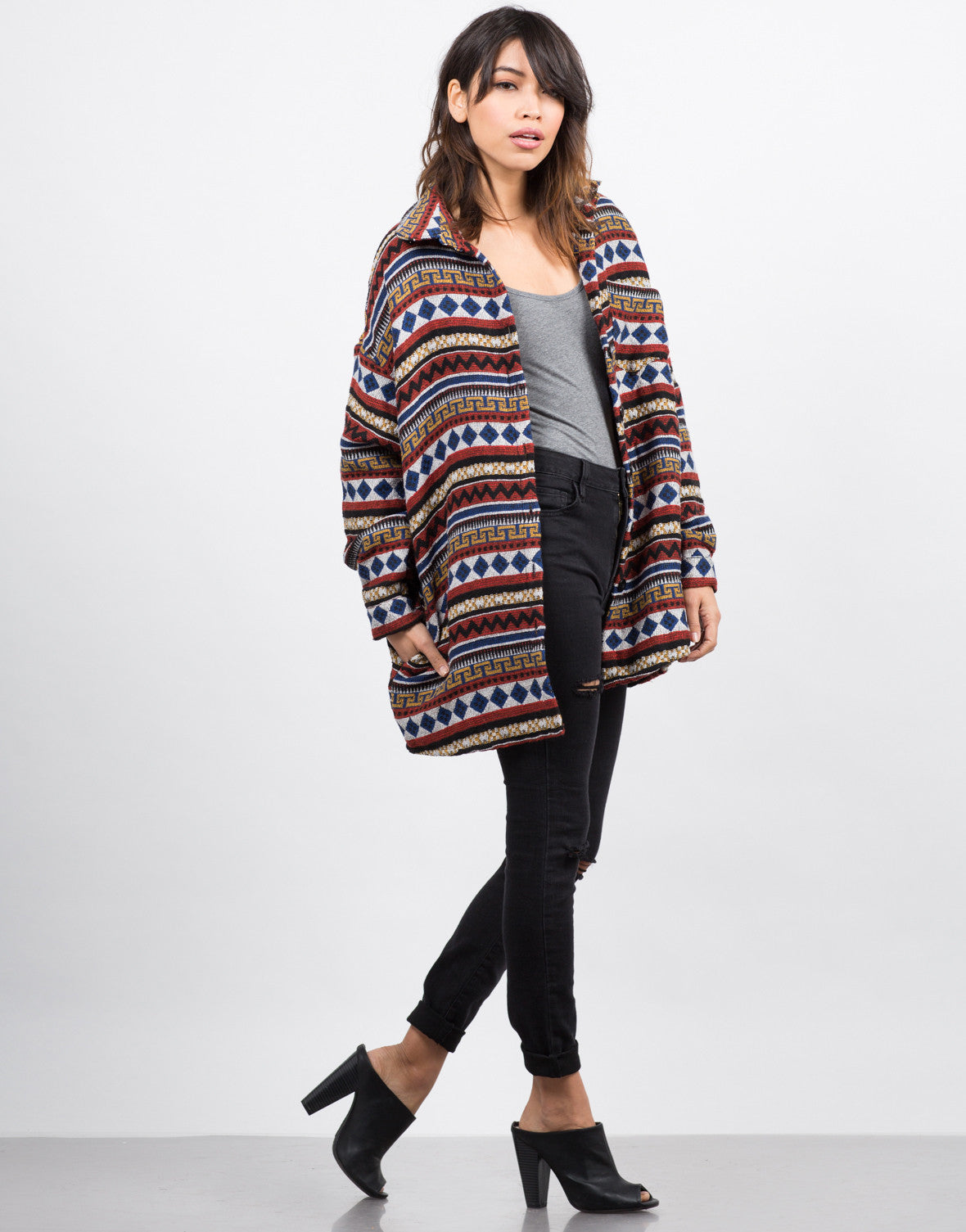 Side View of Oversized Aztec Printed Jacket
