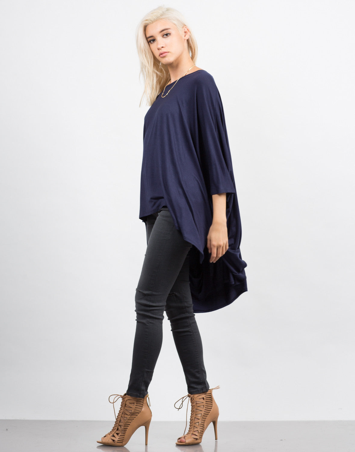 Side View of Oversized Batwing Tee