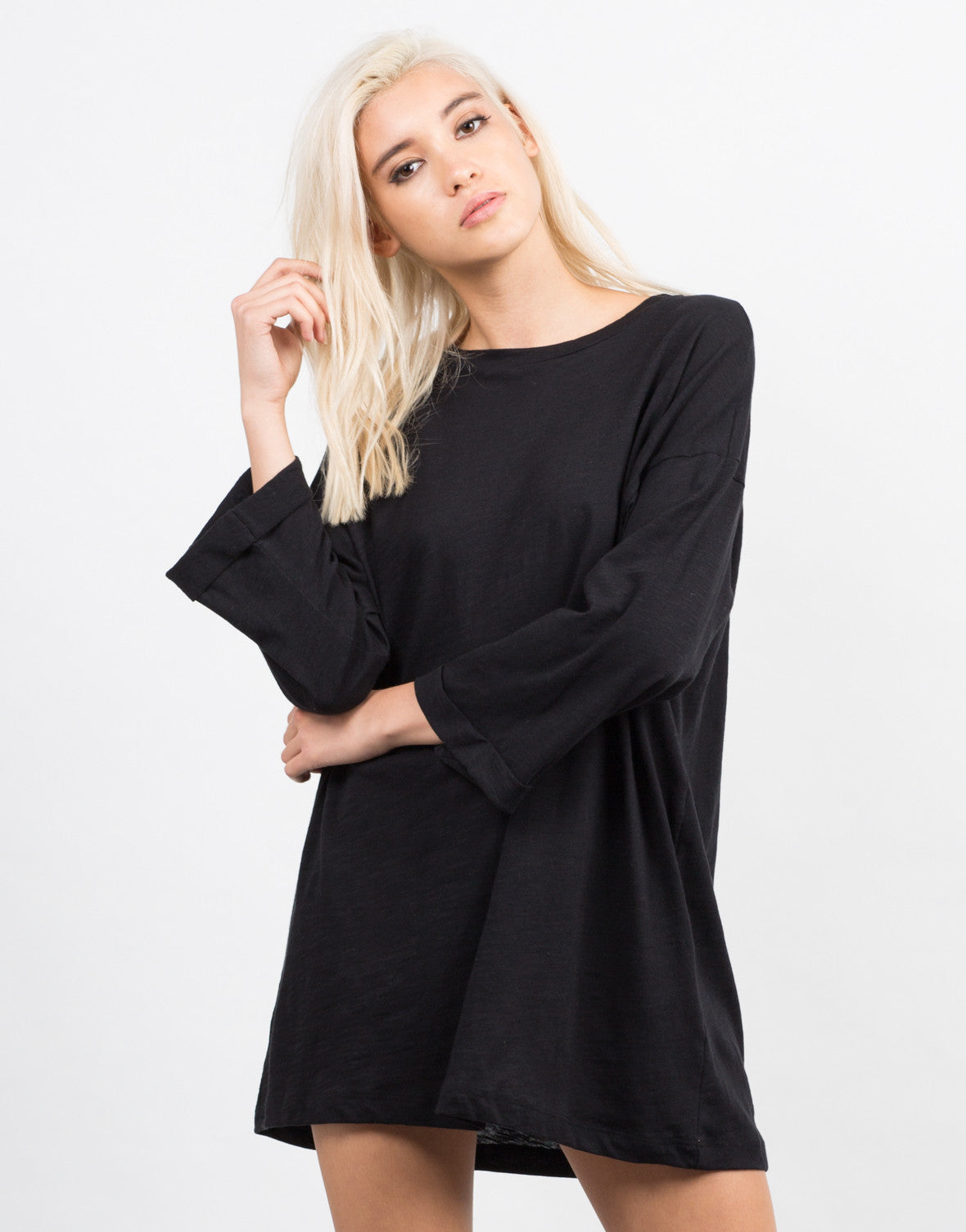 Front View of Oversized Boyfriend Tee Dress