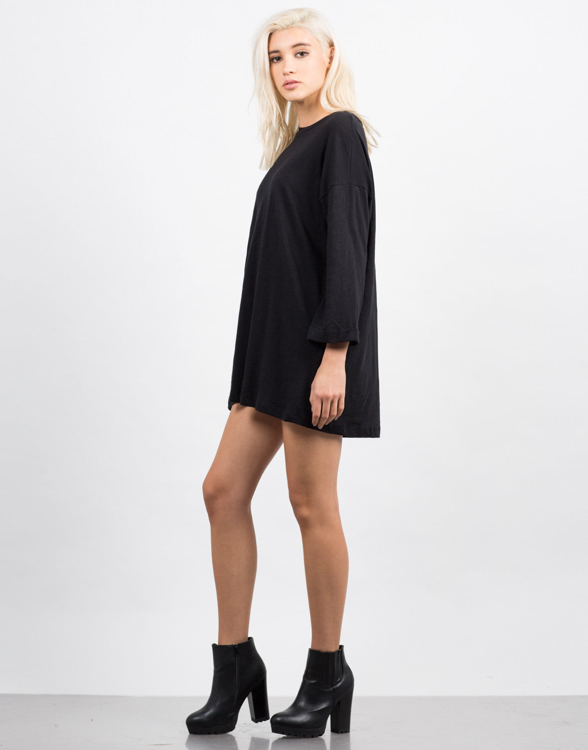 Side View of Oversized Boyfriend Tee Dress