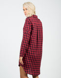 Back View of Oversized Checkered Shirt Dress