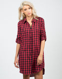 Front View of Oversized Checkered Shirt Dress