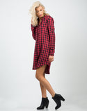 Side View of Oversized Checkered Shirt Dress