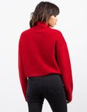 Back View of Oversized Crop Turtleneck Sweater