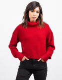 Front View of Oversized Crop Turtleneck Sweater
