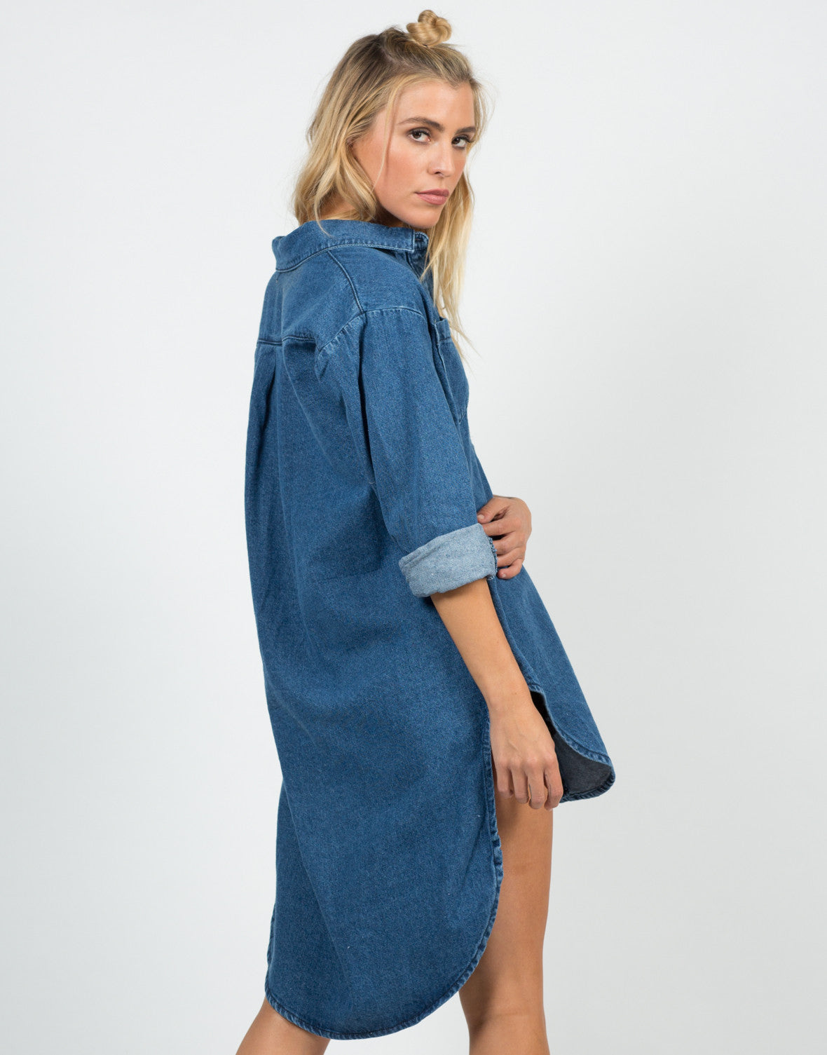 Back View of Oversized Denim Shirt
