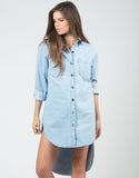 Front View of Oversized Denim Shirt