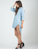 Side View of Oversized Denim Shirt