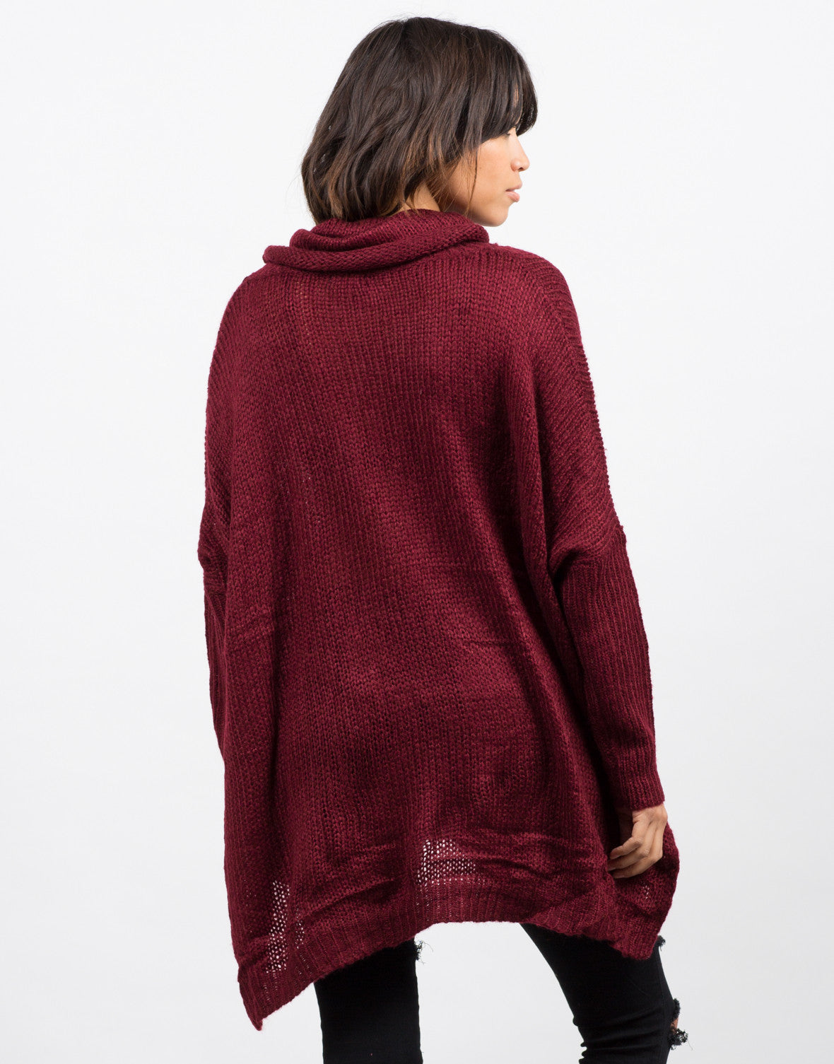 Back View of Oversized Knit Cowl Neck Sweater