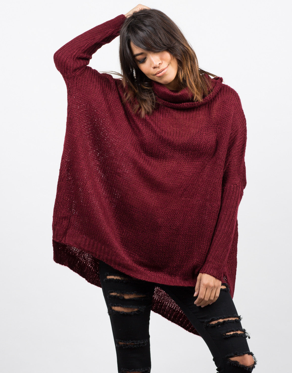 Front View of Oversized Knit Cowl Neck Sweater