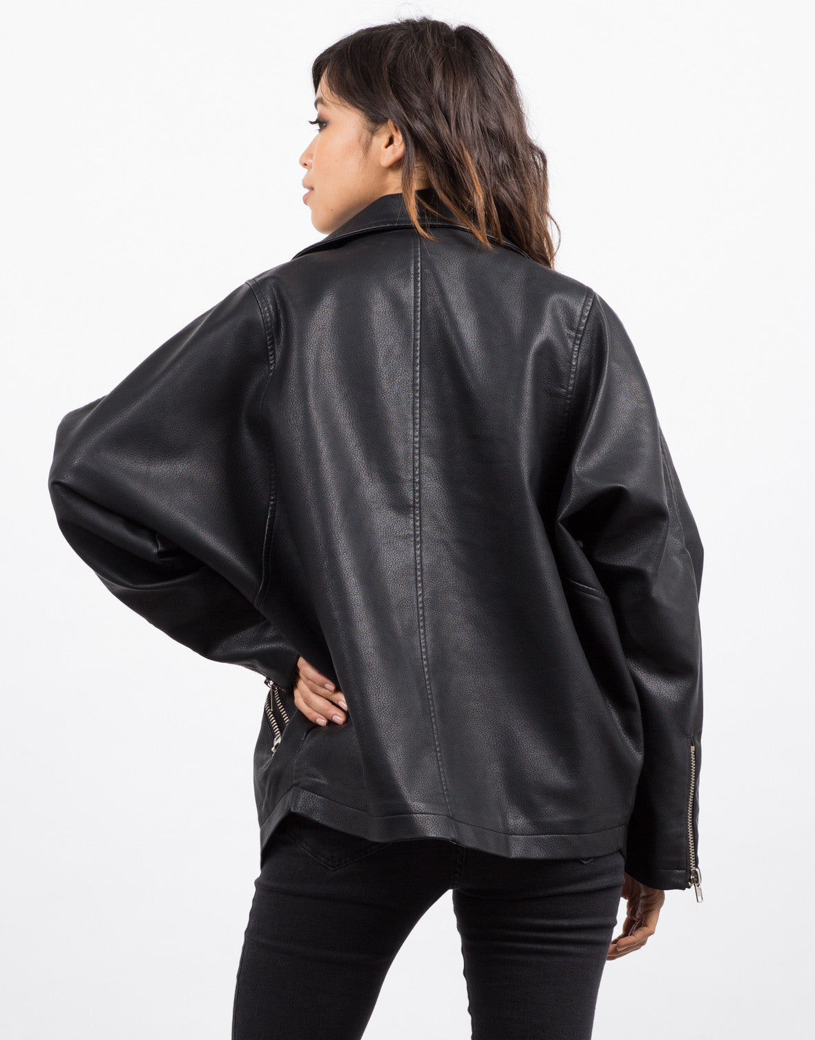 Back View of Oversized Leather Jacket