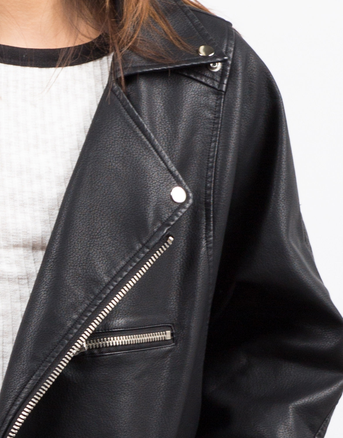 Detail of Oversized Leather Jacket