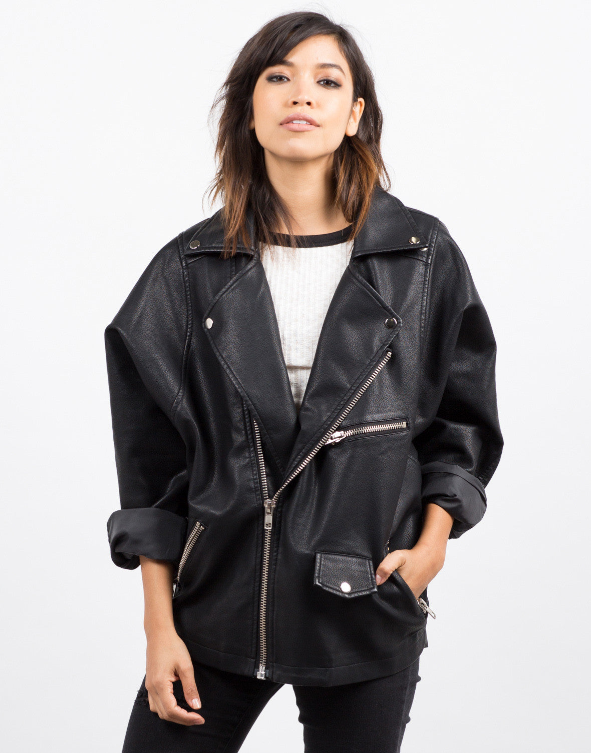 Front View of Oversized Leather Jacket
