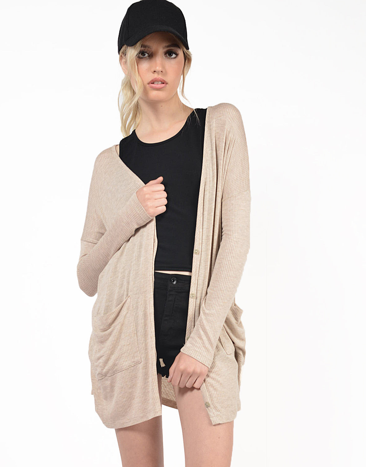 Front View of Oversized Lightweight Ribbed Cardigan