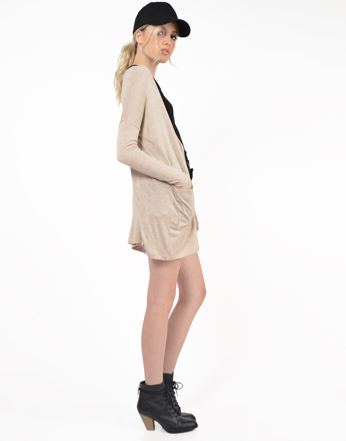 Side View of Oversized Lightweight Ribbed Cardigan