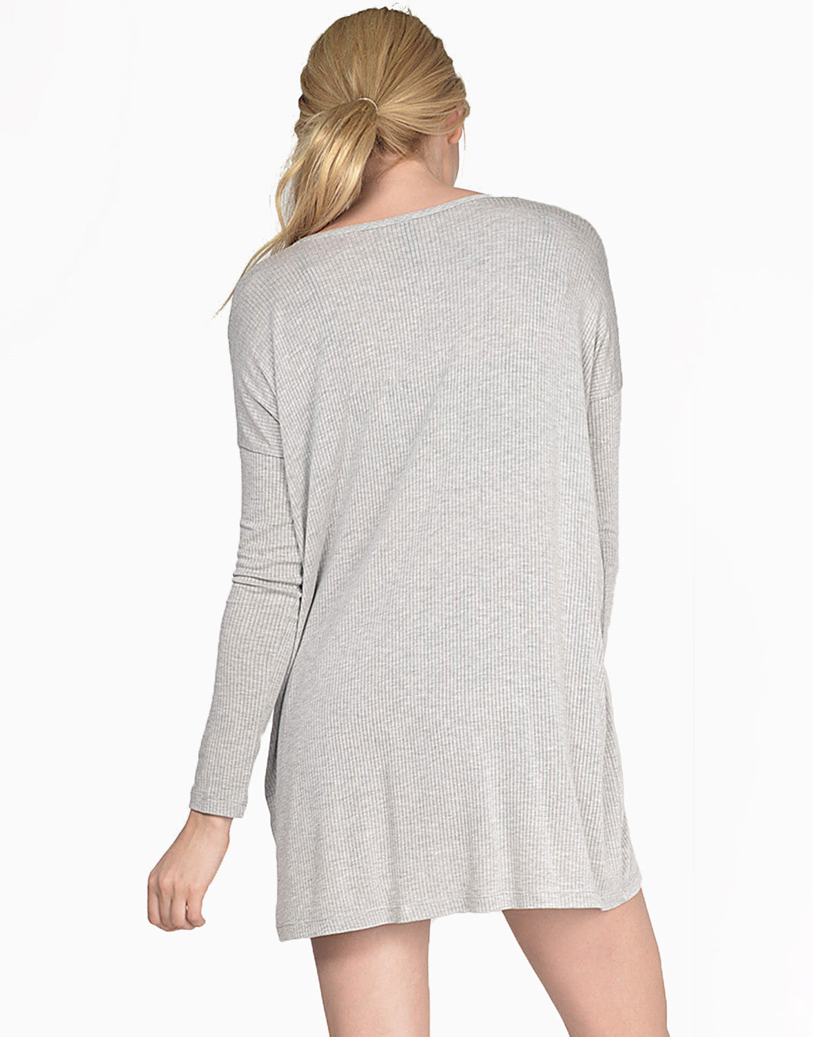 Back View of Oversized Lightweight Ribbed Cardigan