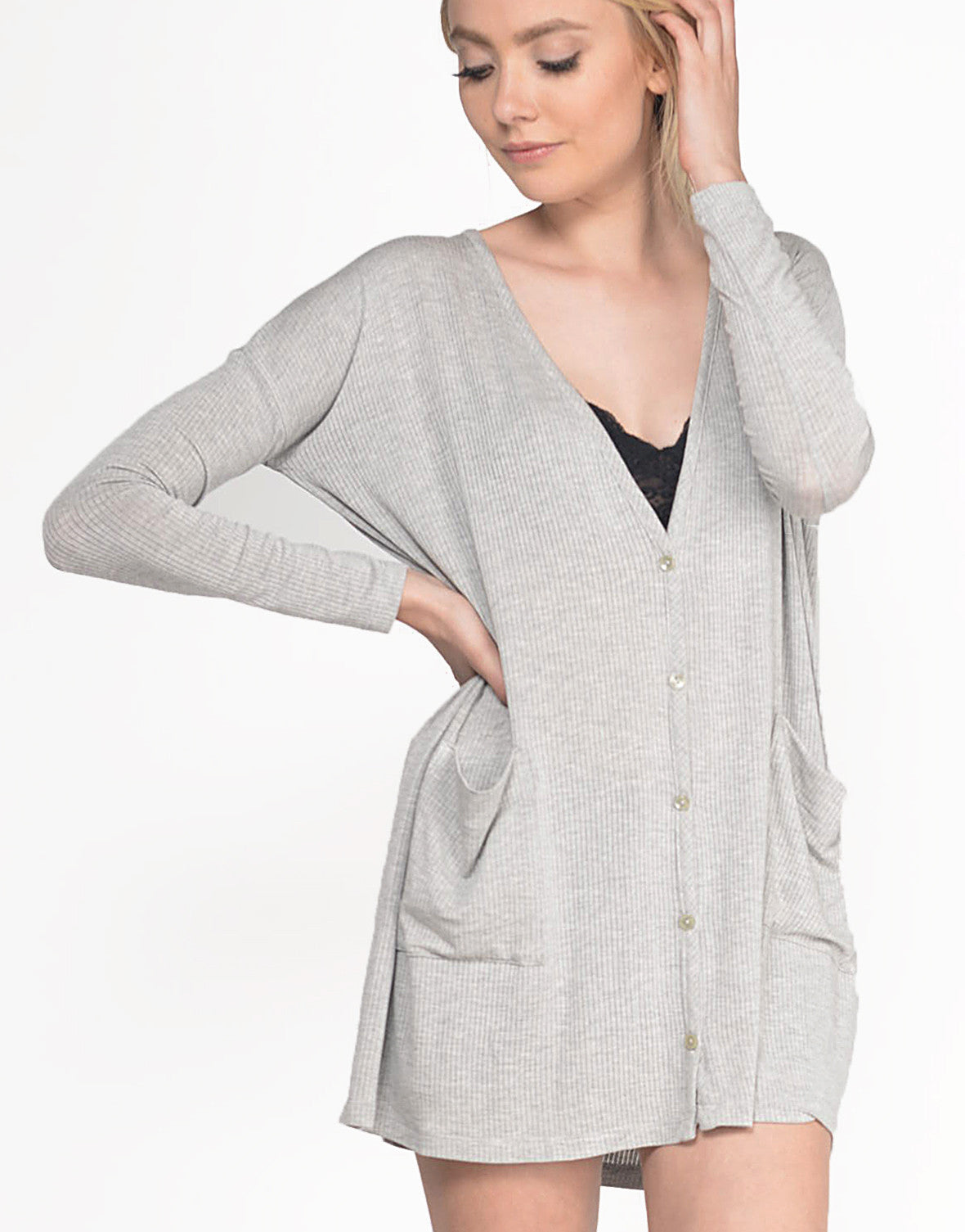 Detail of Oversized Lightweight Ribbed Cardigan