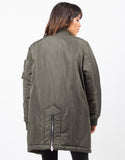 Back View of Oversized Long Bomber Jacket
