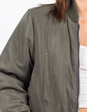 Detail of Oversized Long Bomber Jacket