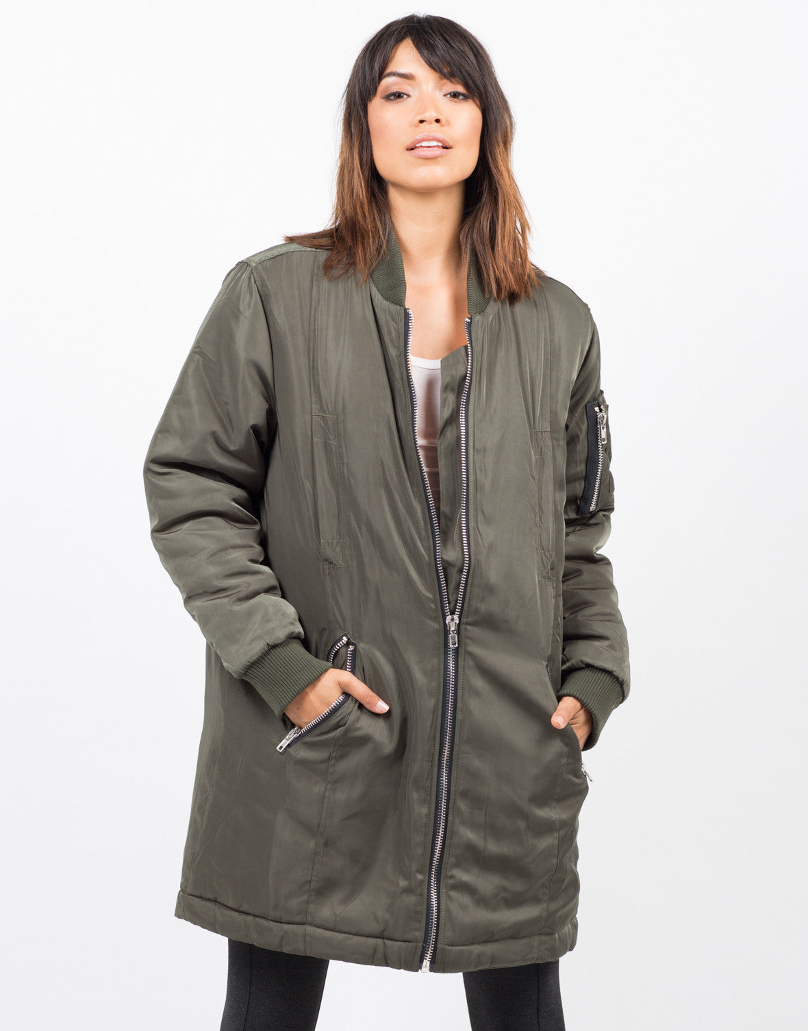 Front View of Oversized Long Bomber Jacket