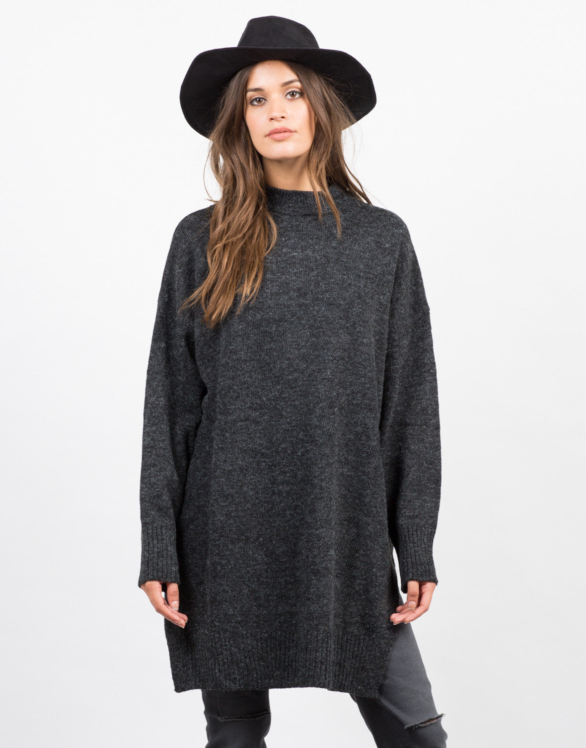 Front View of Oversized Long Knit Sweater