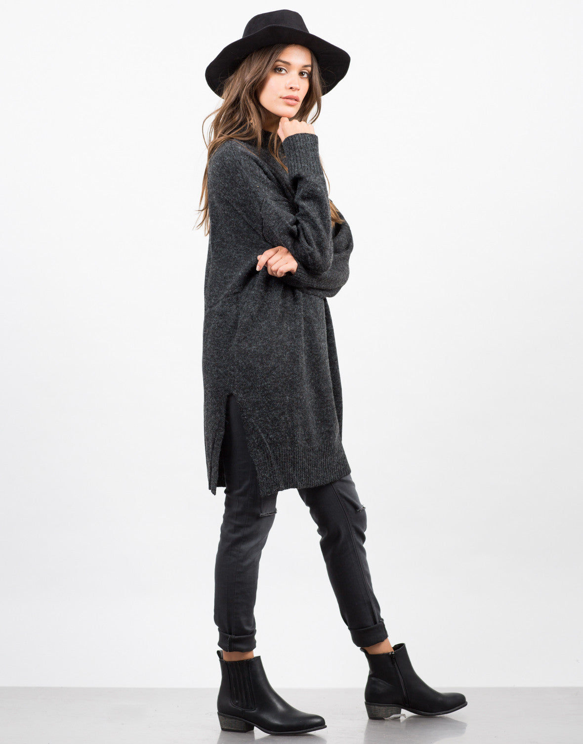 Side View of Oversized Long Knit Sweater