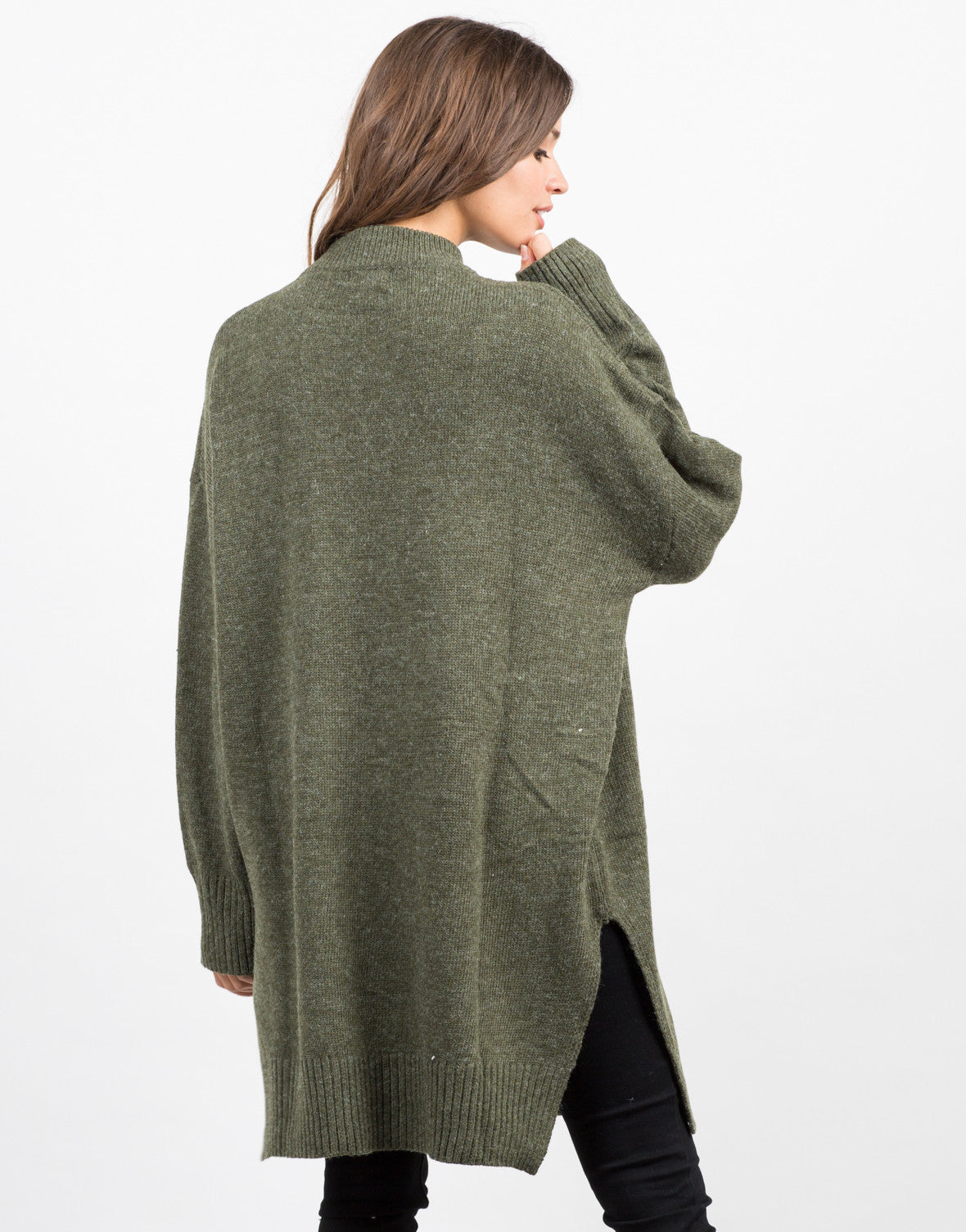 Back View of Oversized Long Knit Sweater