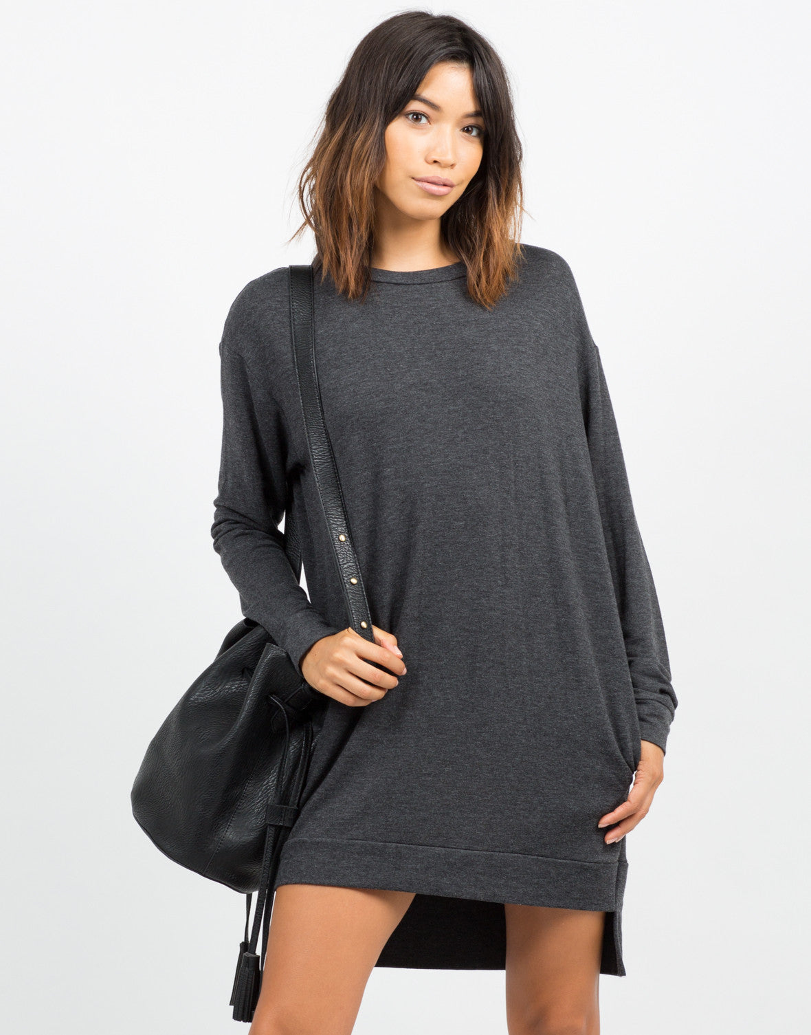 Front View of Oversized Long Sleeve Sweater Dress