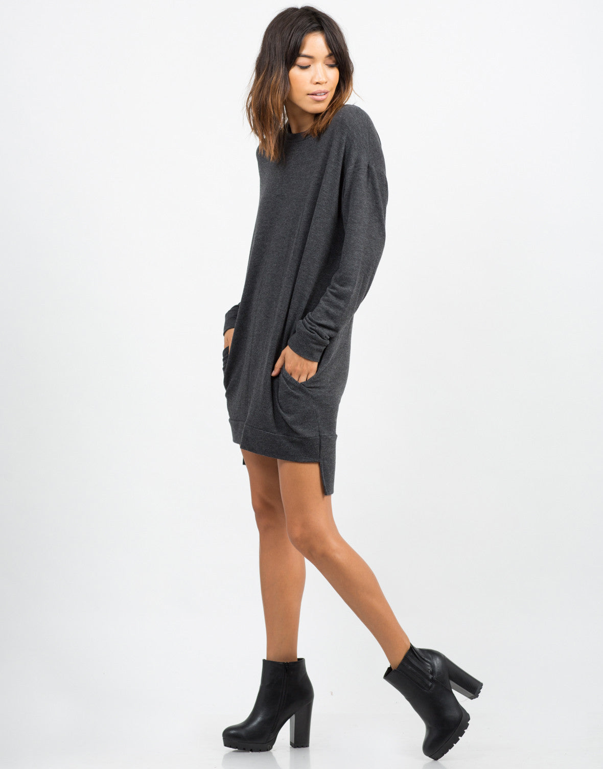 Side View of Oversized Long Sleeve Sweater Dress