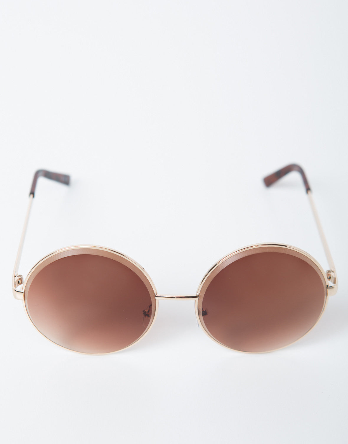 Front View of Oversized Metal Circle Sunglasses
