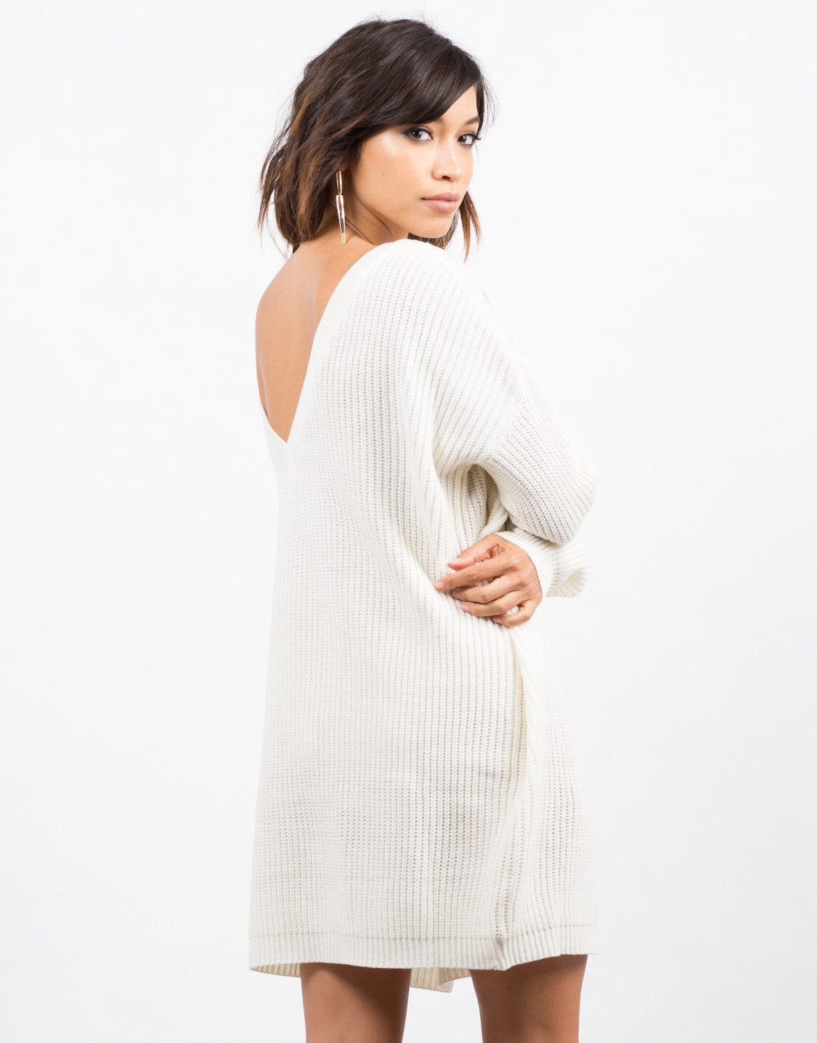 Back View of Oversized Mixed Knit Sweater Dress