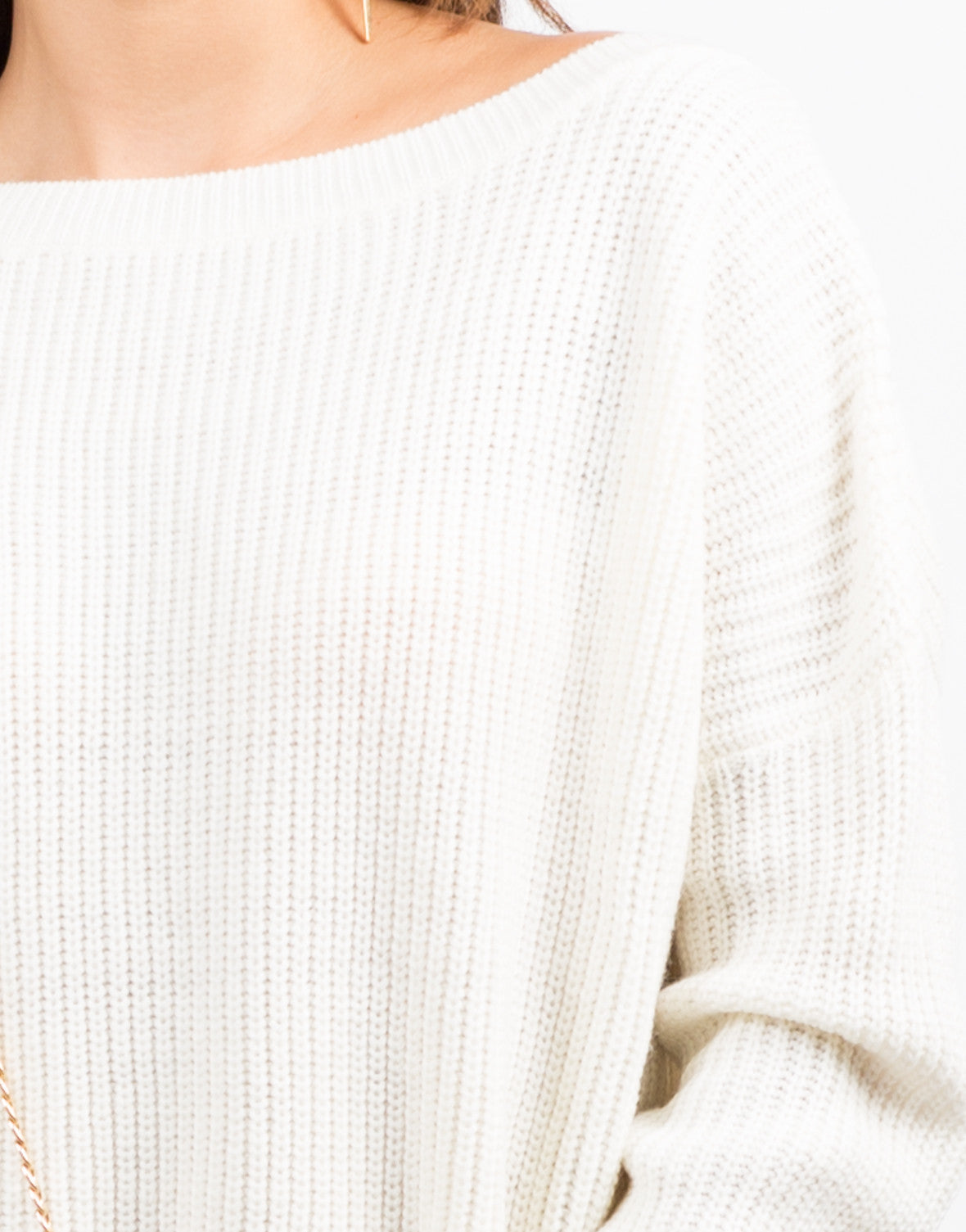Detail of Oversized Mixed Knit Sweater Dress