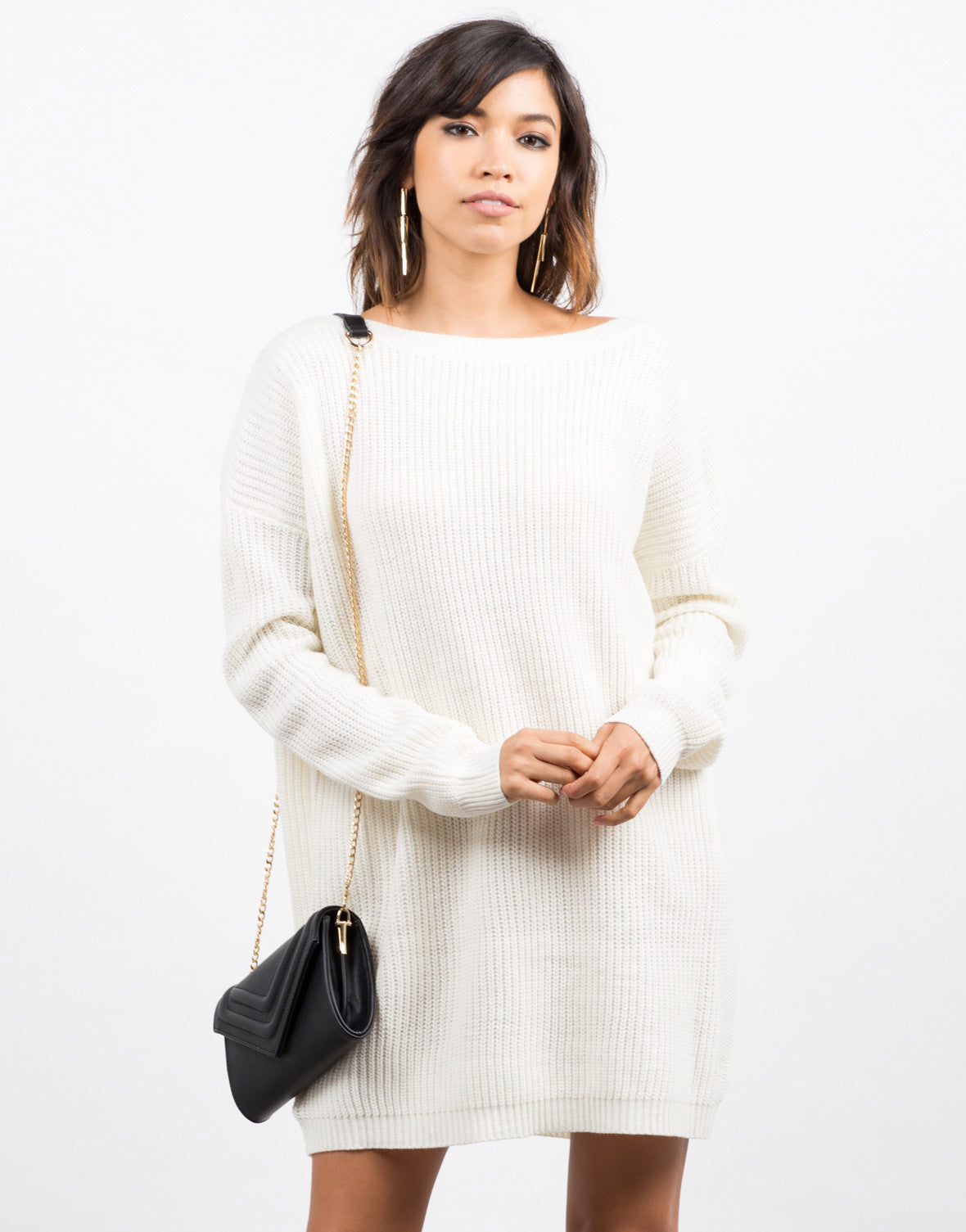 Oversized Mixed Knit Sweater Dress