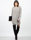 Front View of Oversized Mixed Knit Sweater Dress