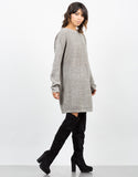 Side View of Oversized Mixed Knit Sweater Dress