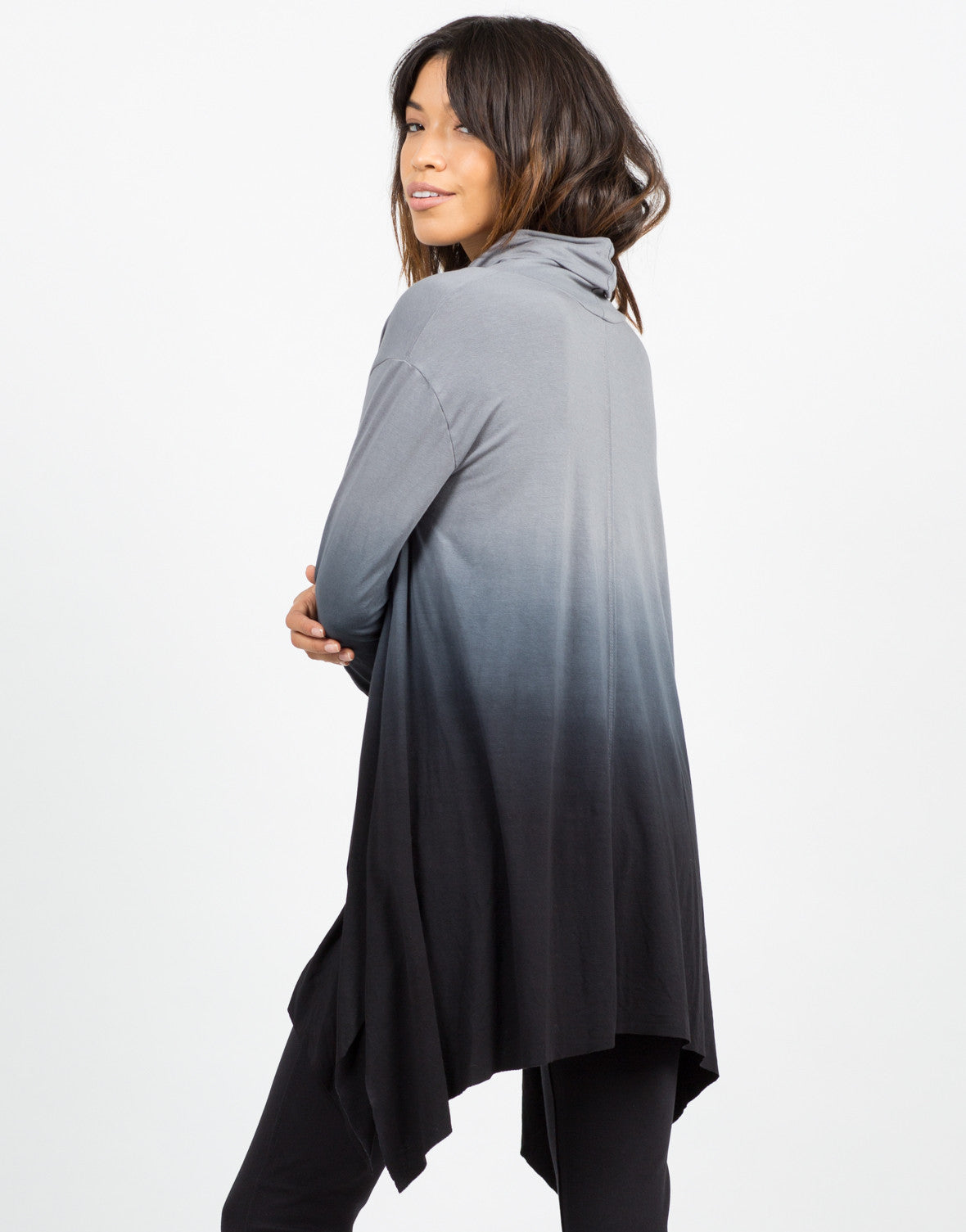 Back View of Oversized Ombre Top